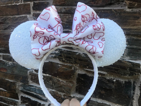 Valentines Day Bow on White Sequin Minnie Mouse Ears