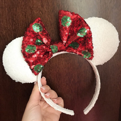 White Christmas Minnie Mouse Ears with Polkadot Bow