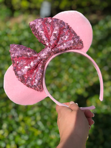Millennial Pink Velvet with Pink Sequin Bow Minnie Mouse Ears