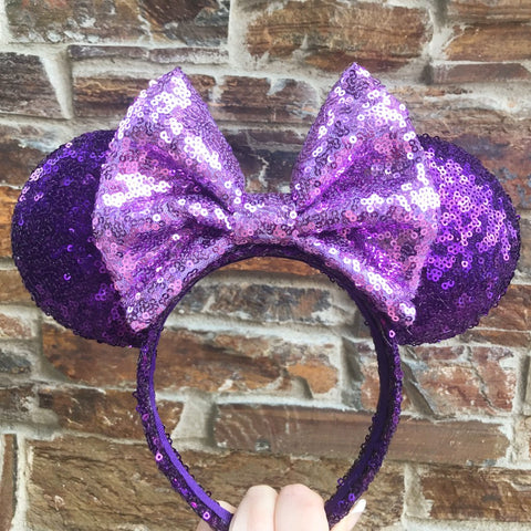 Purple with Light Purple Bow Full Sequin Minnie Mouse Ears