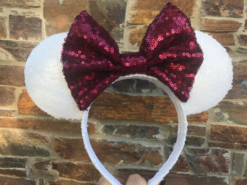 White and Maroon Sequin Minnie Mouse Ears (Texas A&M)