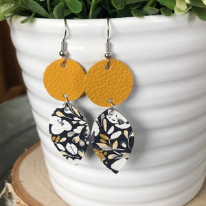 Dotty Willow Earrings-Mustard & Navy Floral