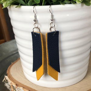 Layered, Angled, Rectangle Earrings-Navy & Mustard