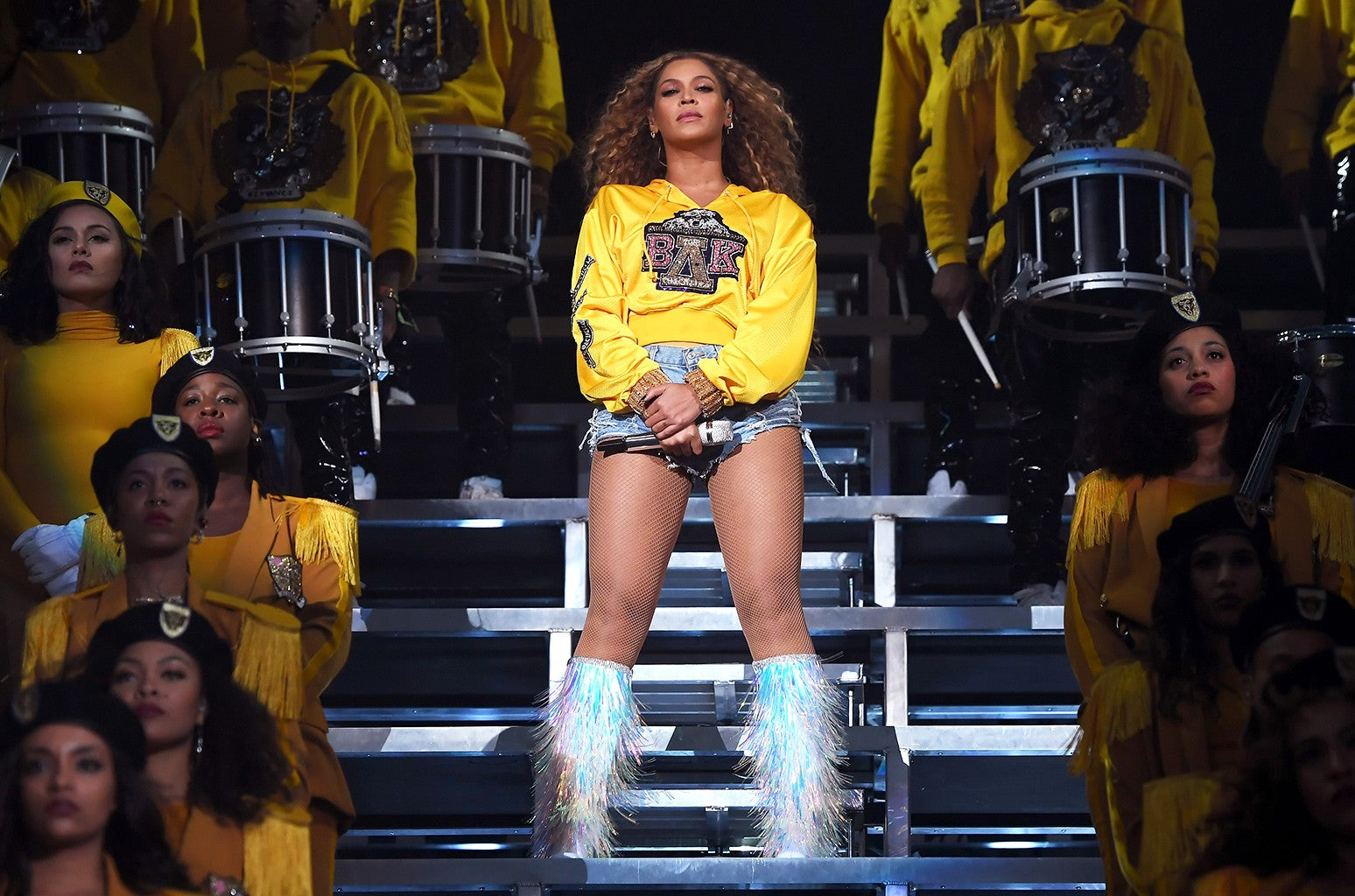 Beyonce Knowles Carter wearing fishnet tights at Coachella 2019 for her Homecoming performance featuring HBCUs