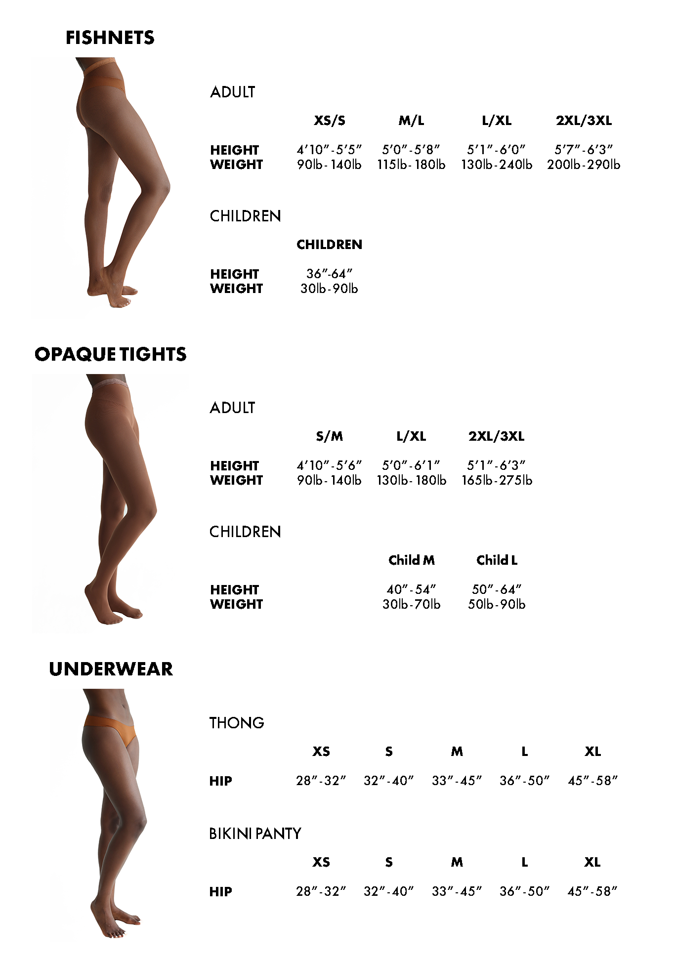 Nude Barre Size Chart