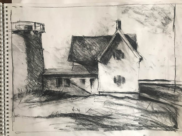 "Charcoal study for ""Stage Harbor Light"""