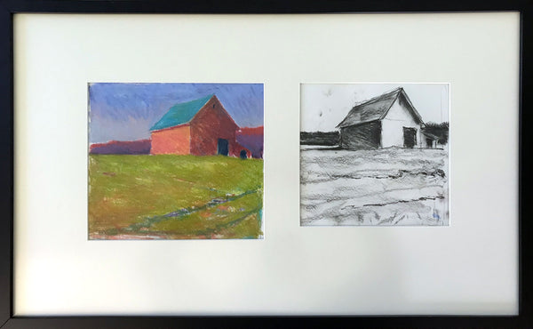 Unnamed Framed Pastel and Charcoal Study