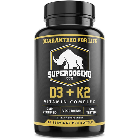 Max Strength D3 and K2: 10,000 iu D and 1500 mcg K2 by SuperDosing 3 Bottle Pack. 270x 2in1 High Potency Caps for Heart and Bone Health. Vitamin D and VIT K Supplement Boosts Energy and Immune System