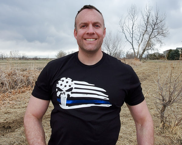 Thin Blue Line Skull Flag - Unisex T-Shirt