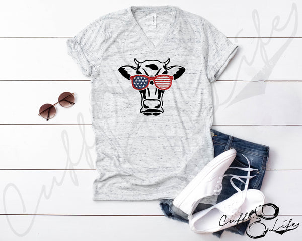 American Cow - Boyfriend Fit V-Neck Tee