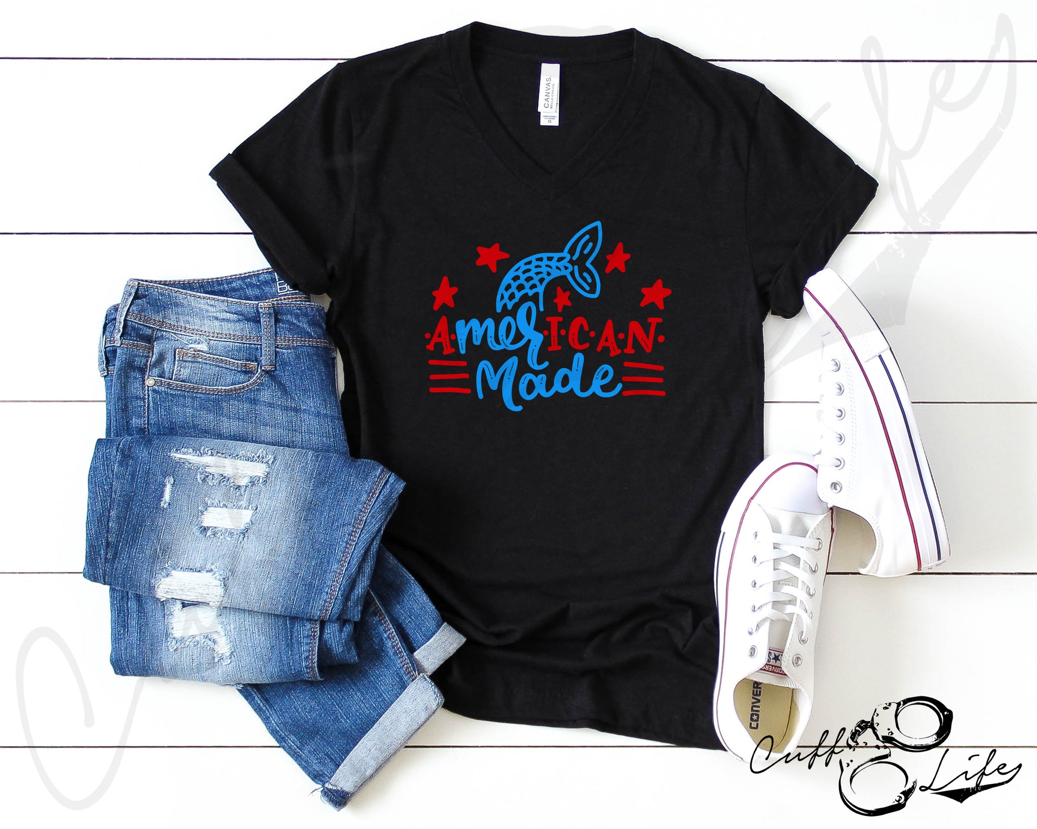 American Made - Boyfriend Fit V-Neck Tee