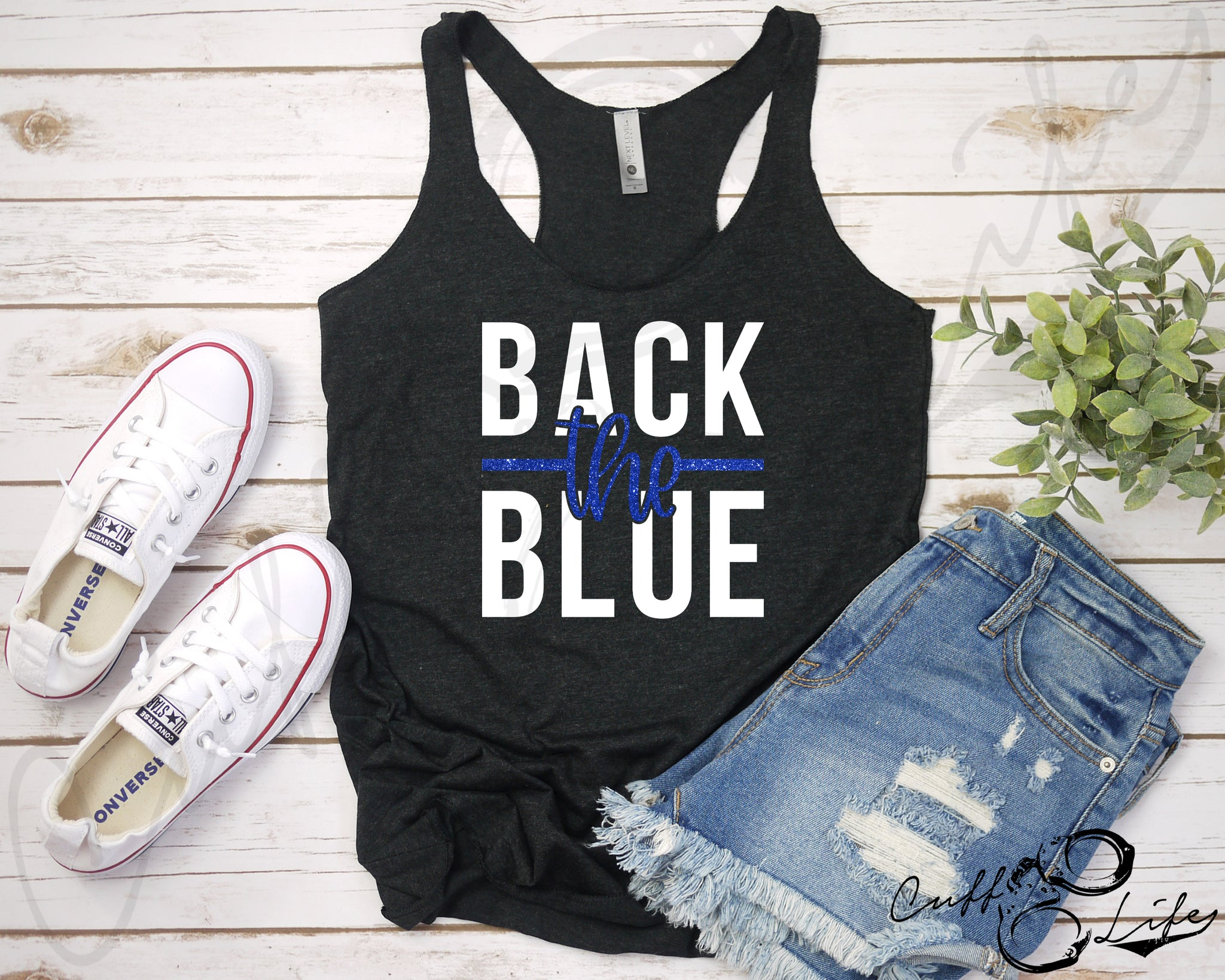 Back the Blue NEW © - Racerback Tank