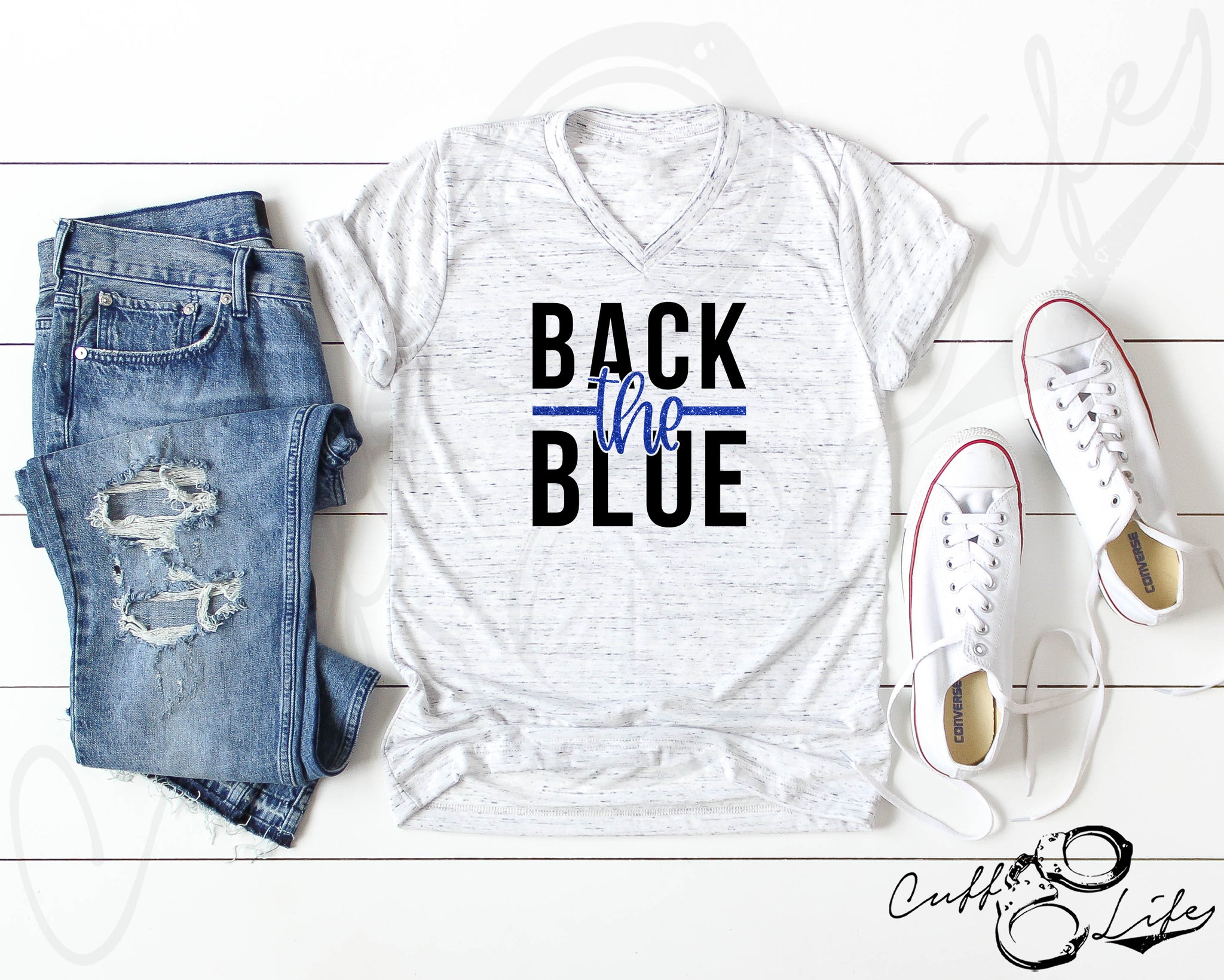 Back the Blue NEW © - Boyfriend Fit V-Neck Tee