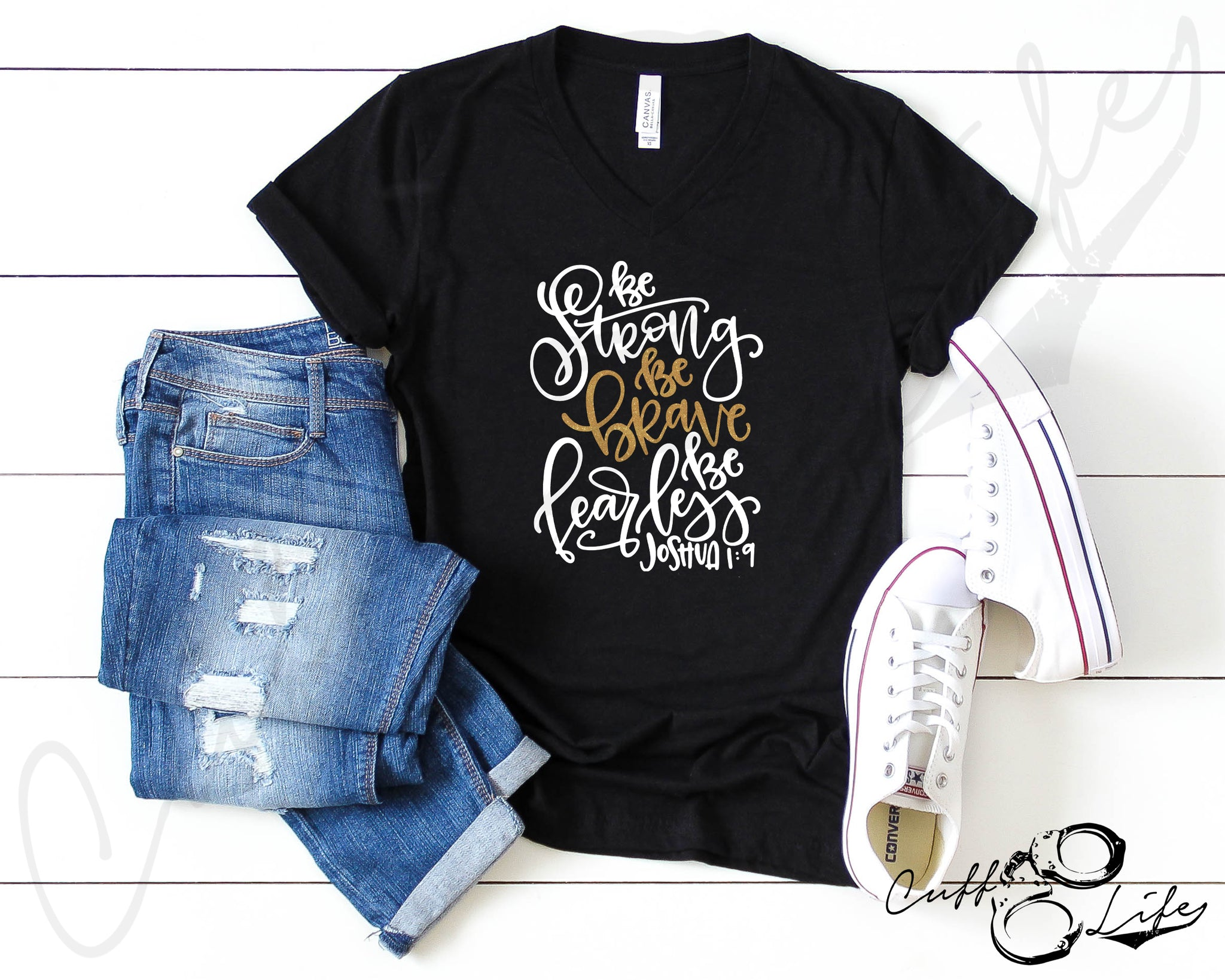 Be Strong Be Brave Be Fearless TGL - Boyfriend Fit V-Neck Tee