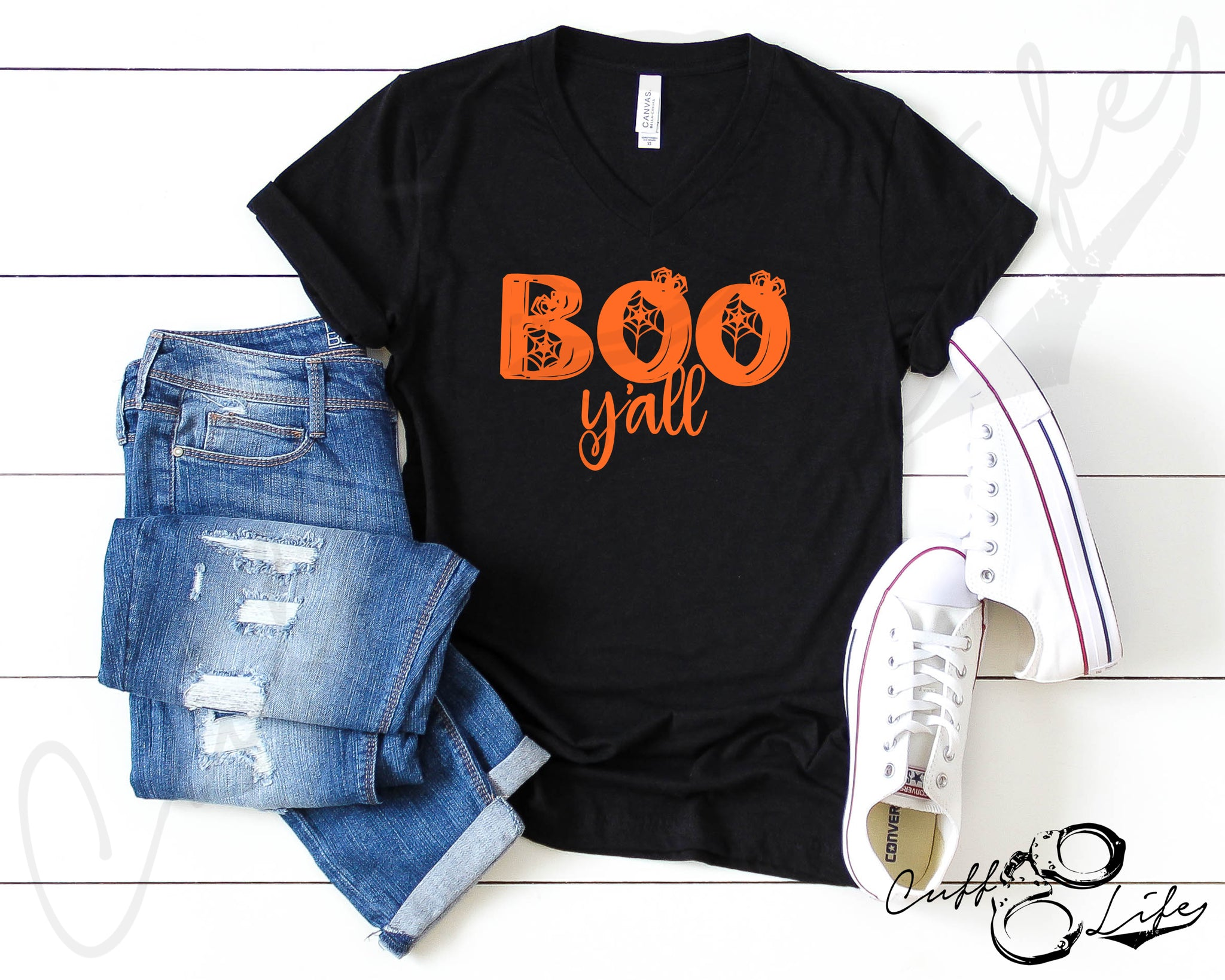 Boo Y'all © - Boyfriend Fit V-Neck Tee