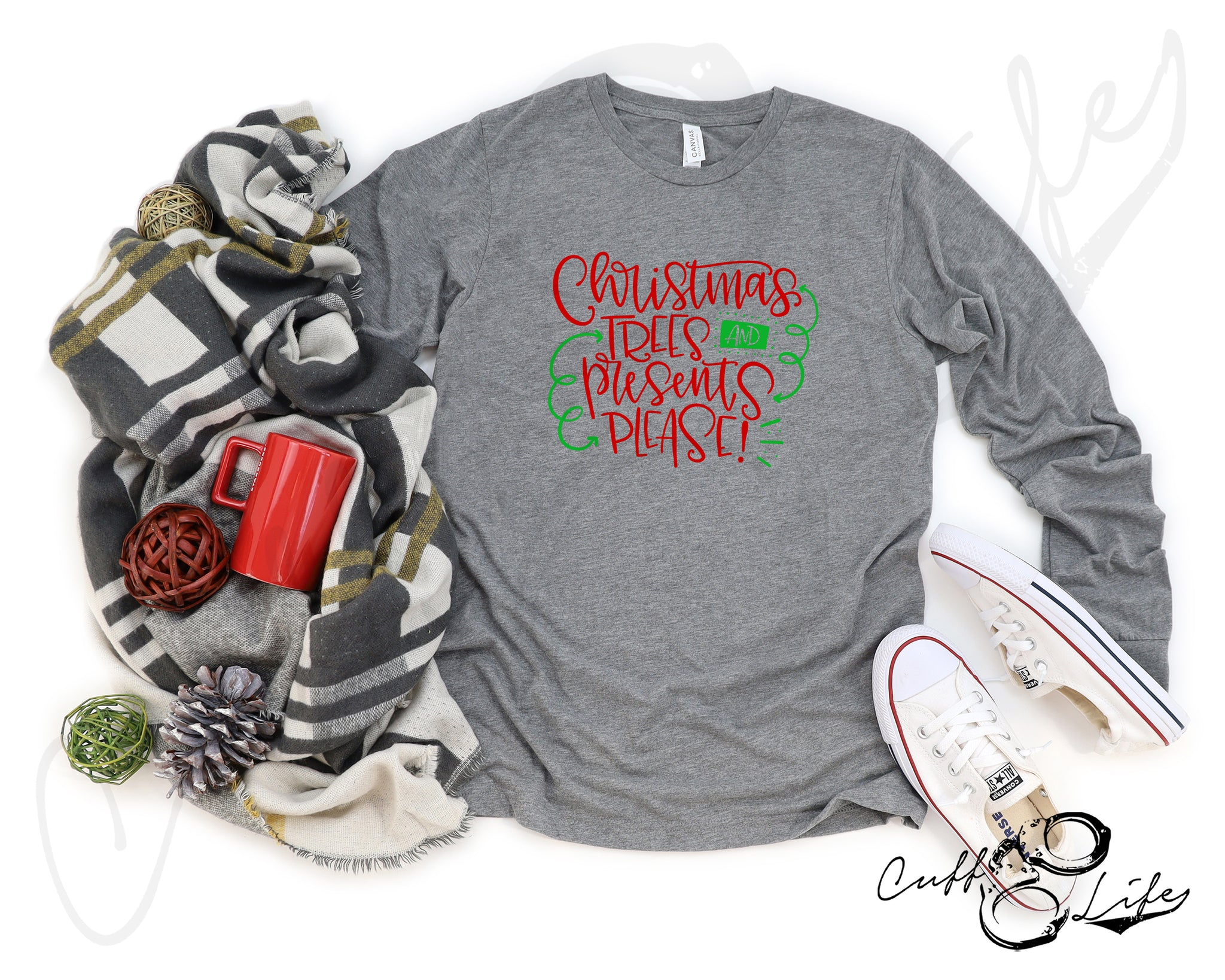 Christmas Trees and Presents Please - Long Sleeve Tee