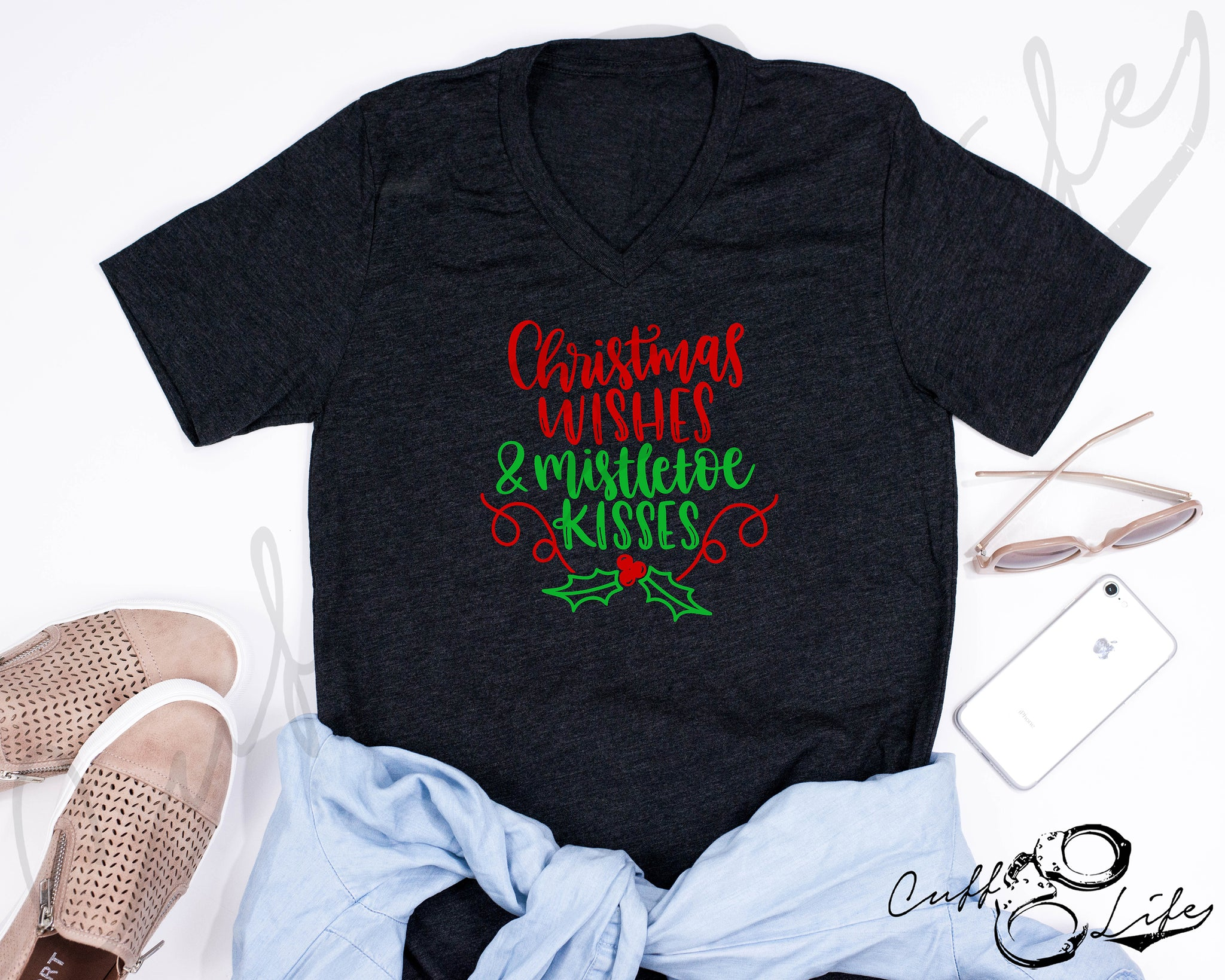 Christmas Wishes & Mistletoe Kisses - Boyfriend Fit V-Neck Tee