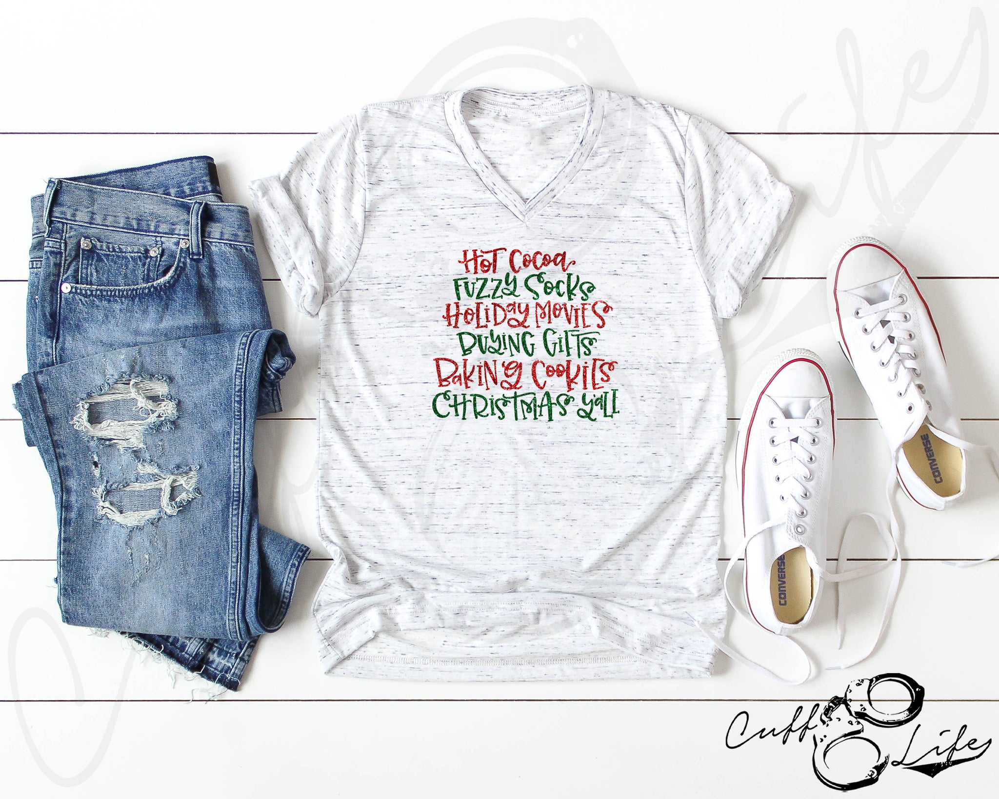 Christmas Words - Boyfriend Fit V-Neck Tee