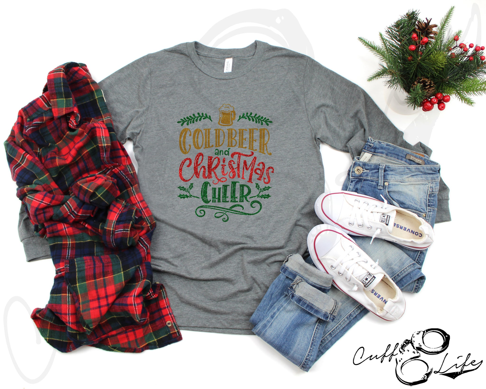 Cold Beer and Christmas Cheer - Long Sleeve Tee