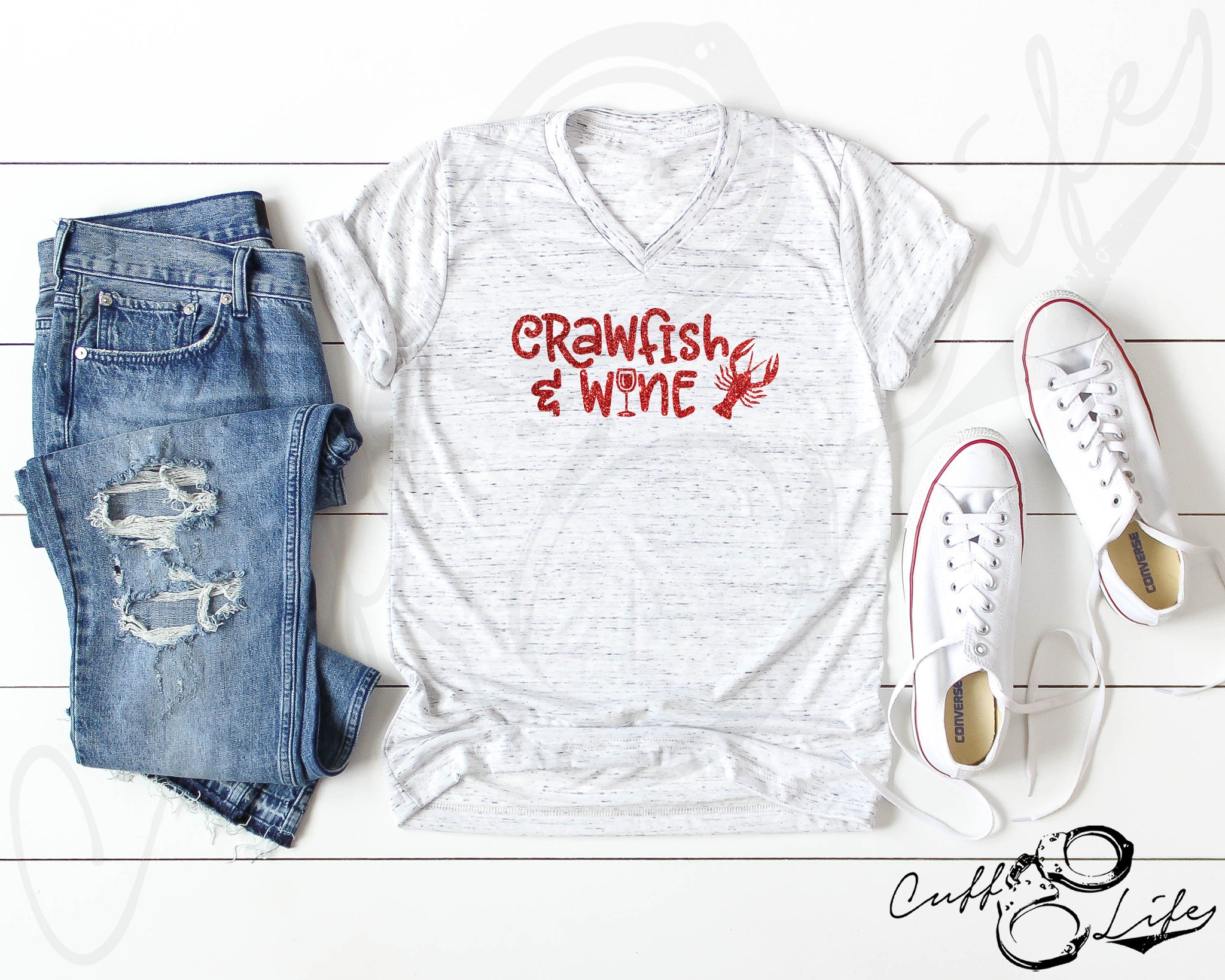 Crawfish and Wine - Boyfriend Fit V-Neck Tee