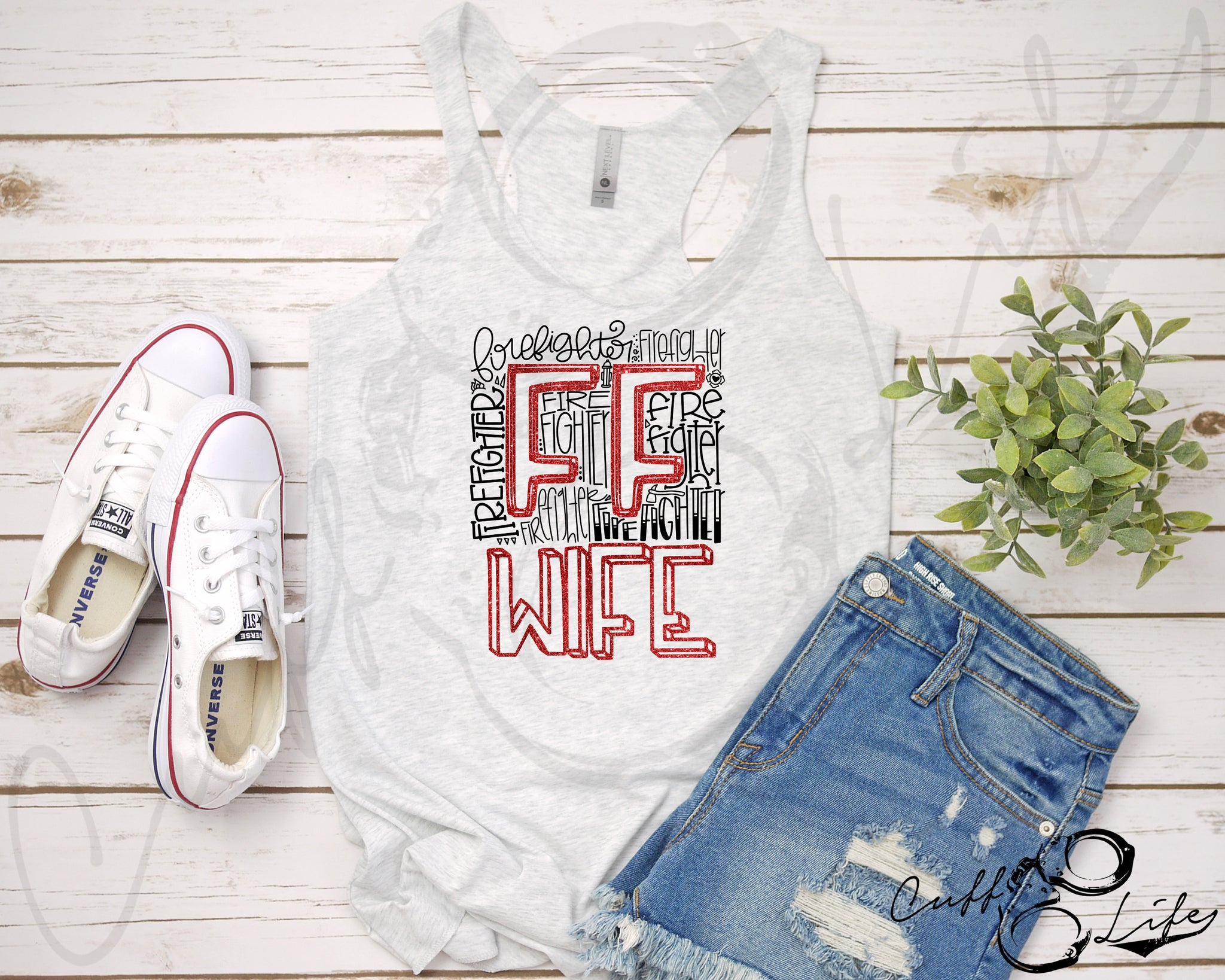 FF Wife Typography - Racerback Tank