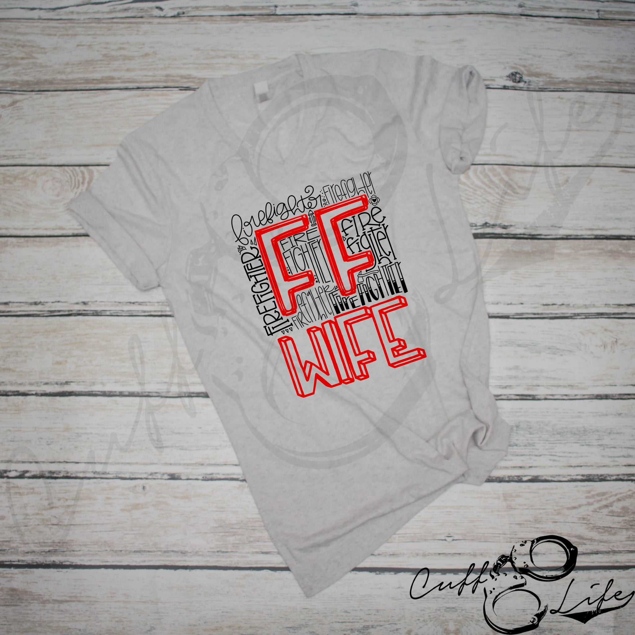 FF Wife Typography - Boyfriend Fit V-Neck Tee