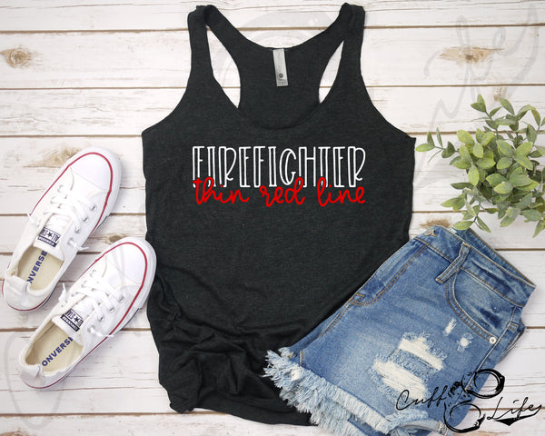 FIREFIGHTER Thin Red Line © - Racerback Tank