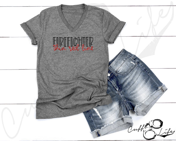 FIREFIGHTER Thin Red Line © - Boyfriend Fit V-Neck Tee