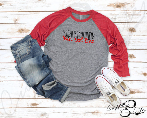 FIREFIGHTER Thin Red Line © - 3/4 Sleeve Raglan