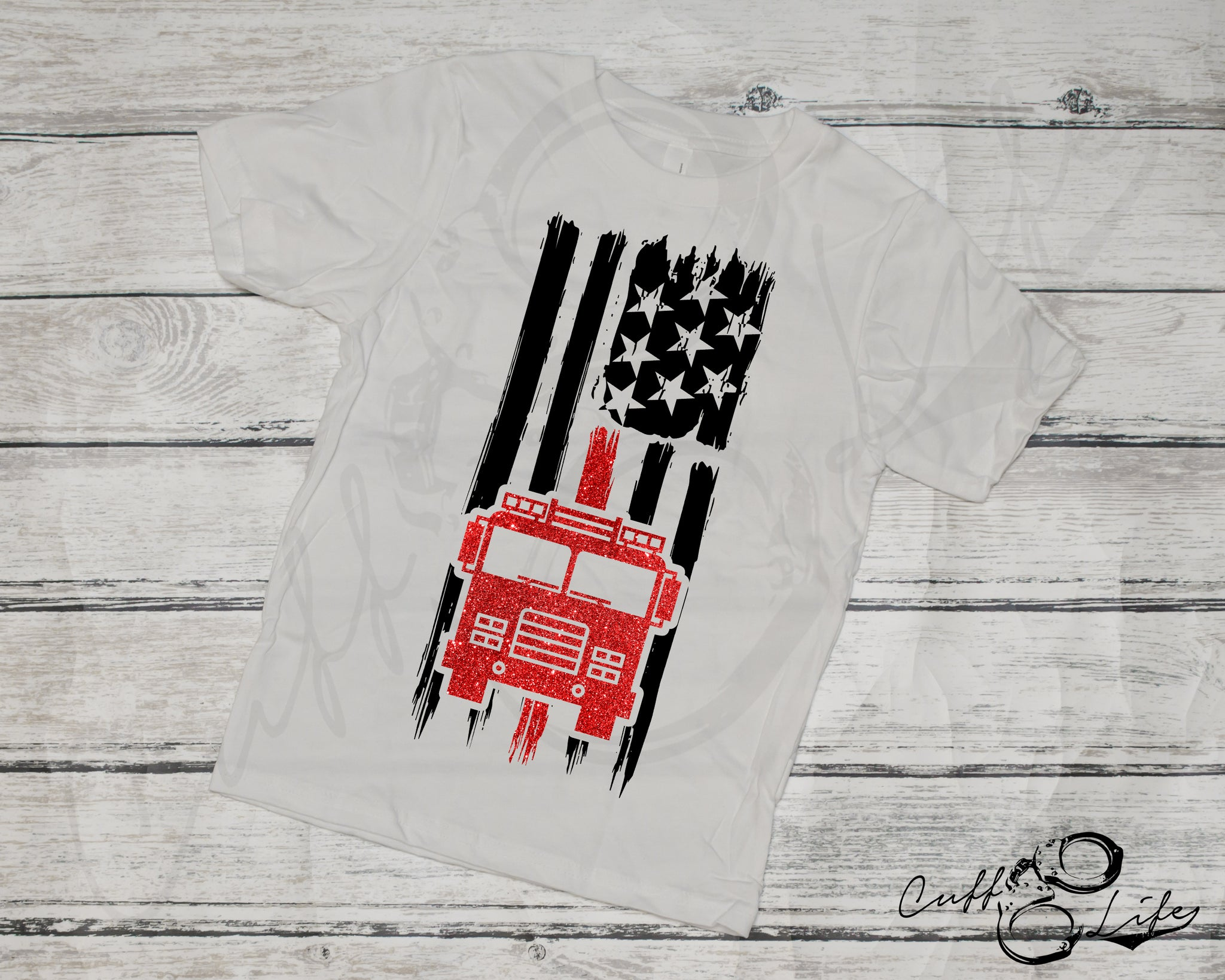 American Flag Fire Truck - Toddler/Youth T-Shirt