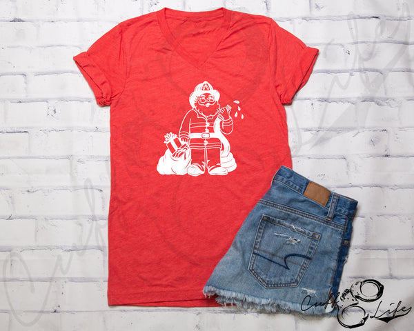 Firefighter Santa © - Boyfriend Fit V-Neck Tee