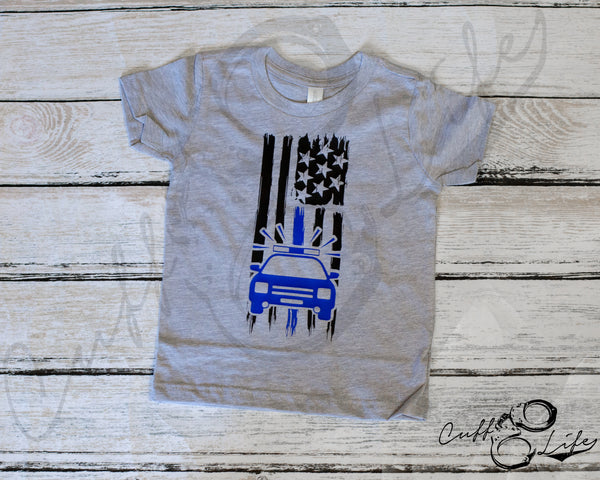 American Flag Police Car - Toddler/Youth T-Shirt