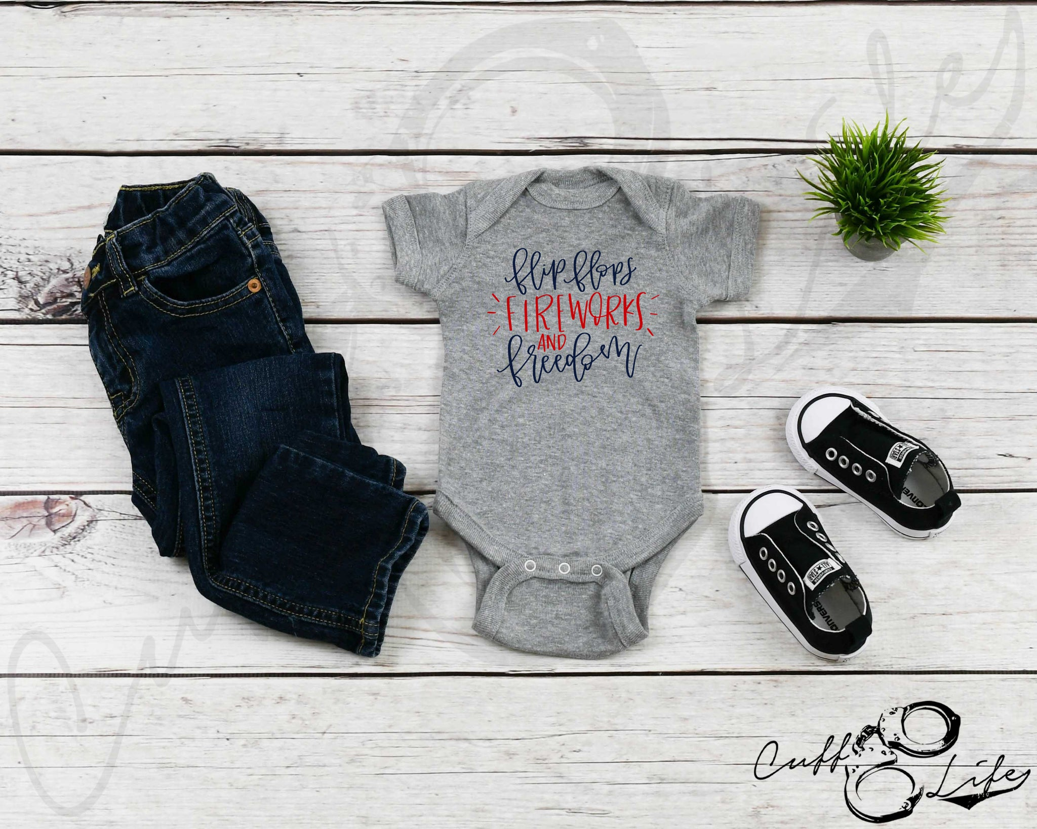 Flip Flops Fireworks and Freedom - Infant Bodysuit