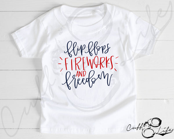 Flip Flops Fireworks and Freedom - Toddler/Youth T-Shirt
