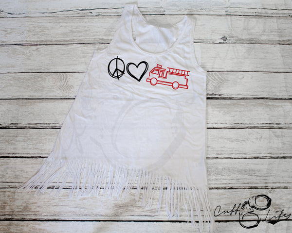 Peace Love Fire Truck - Fringe Tank