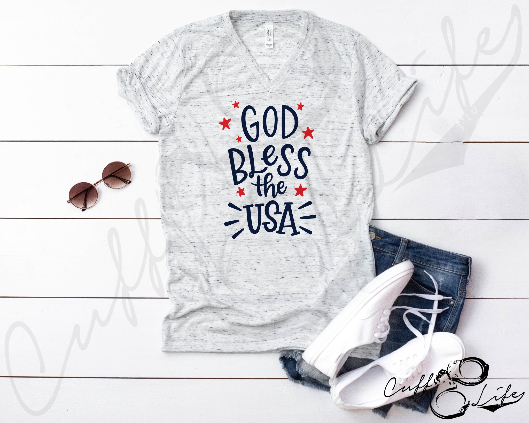 God Bless the USA - Boyfriend Fit V-Neck Tee