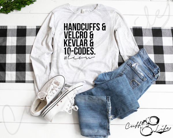 Handcuffs Velcro Kevlar & 10-Codes - LEOW - Long Sleeve Tee