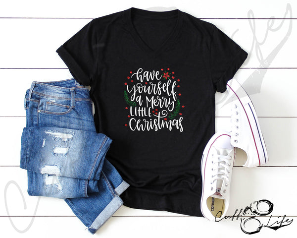 Have Yourself A Merry Little Christmas - Boyfriend Fit V-Neck Tee