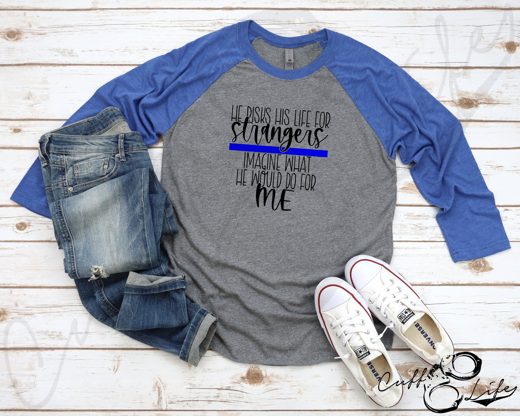 He Risks His Life for Strangers TBL © - 3/4 Sleeve Raglan