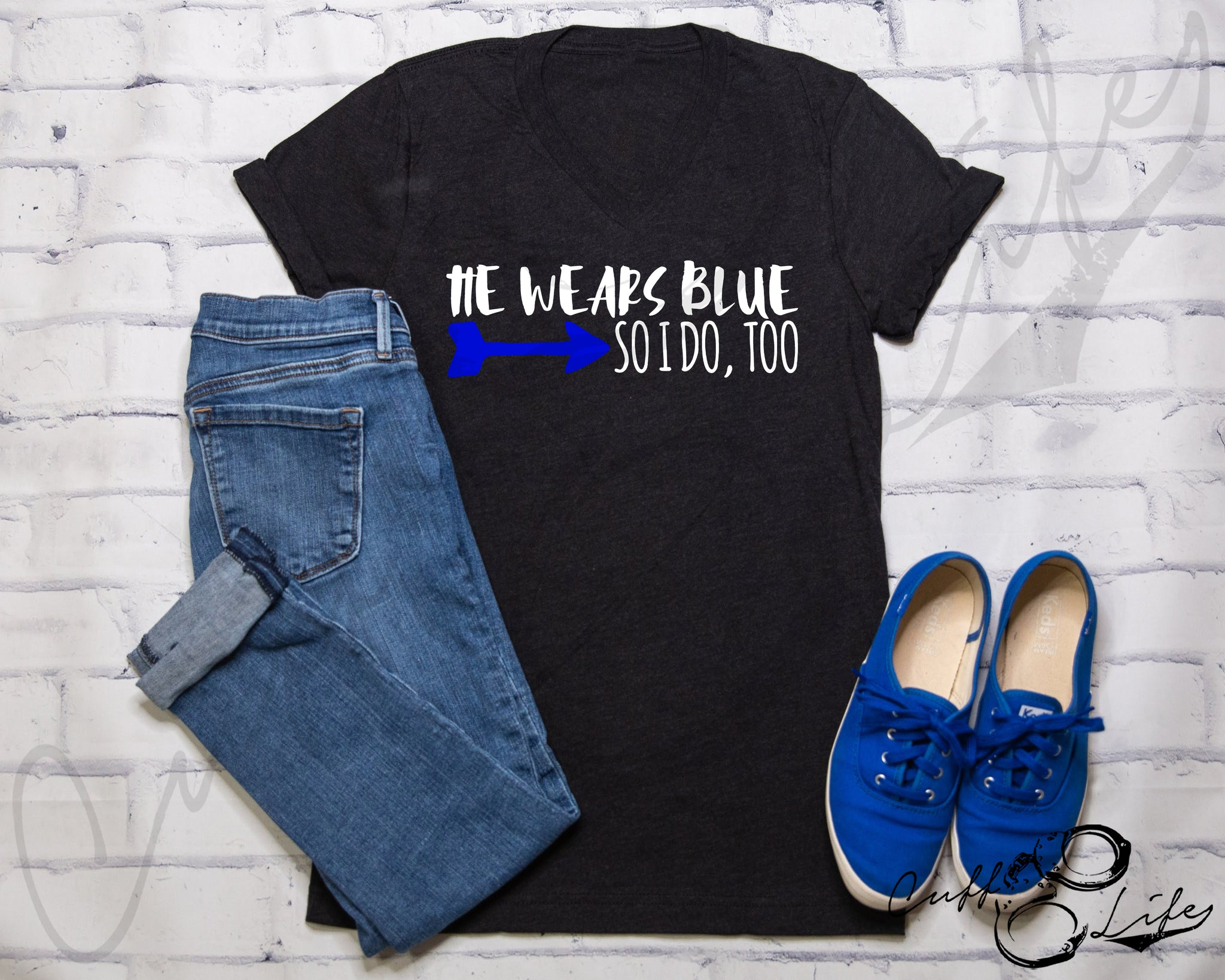 He Wears Blue © - Boyfriend Fit V-Neck Tee