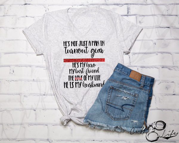 He's Not Just A Man in Turnout Gear - Boyfriend Fit V-Neck Tee