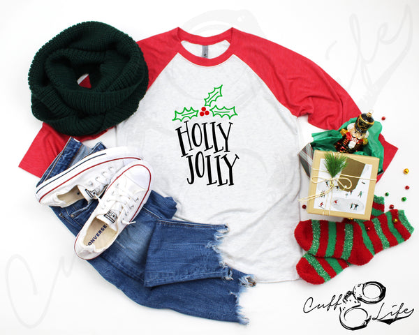 Holly Jolly - 3/4 Sleeve Raglan