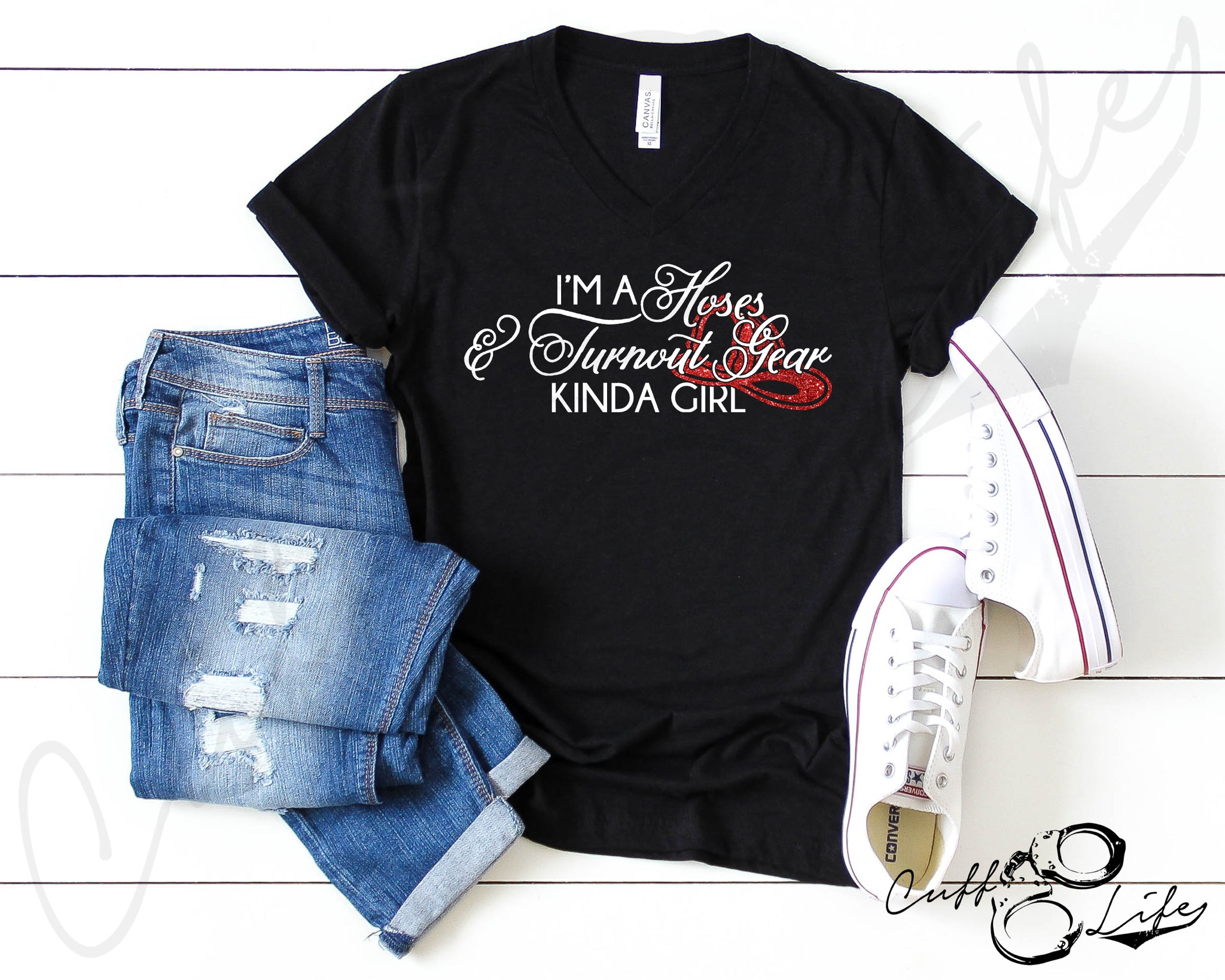 Hoses & Turnout Gear © - Boyfriend Fit V-Neck Tee