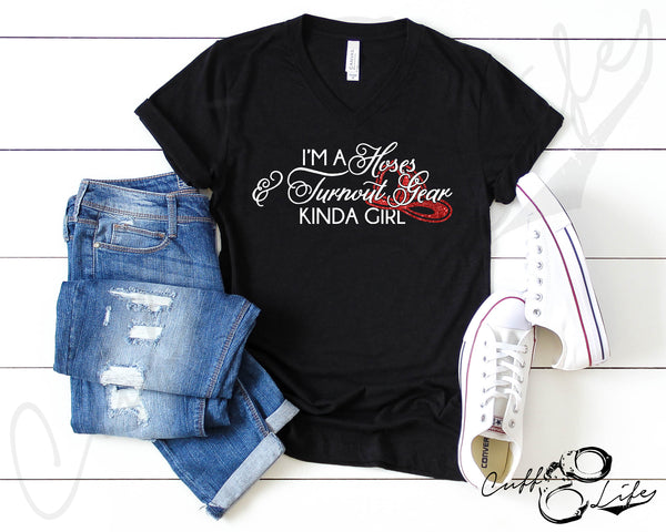 Hoses & Turnout Gear - Boyfriend Fit V-Neck Tee