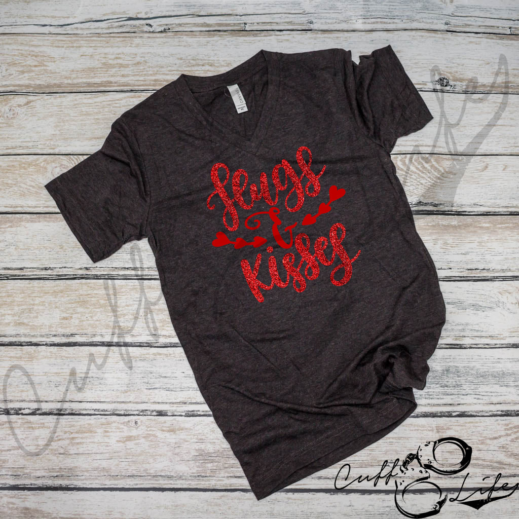 Hugs & Kisses - Boyfriend Fit V-Neck Tee