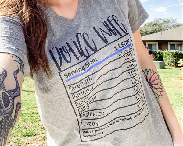 Police Wife Nutrition Label © - Boyfriend Fit V-Neck Tee