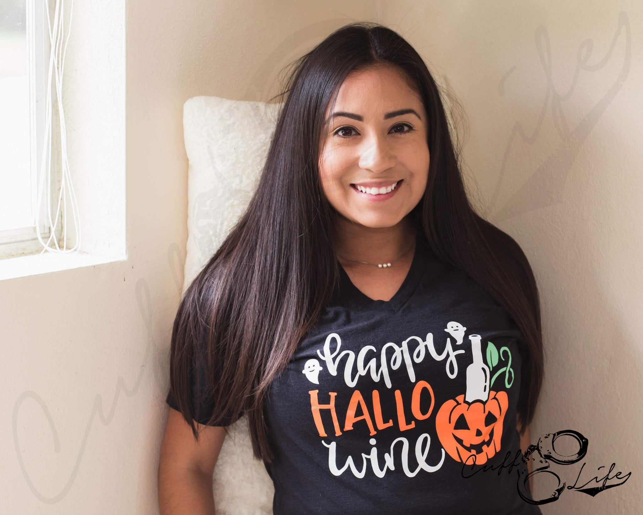 Happy HalloWINE - Boyfriend Fit V-Neck Tee