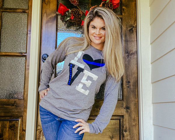 LOVE Thin Blue Line - Long Sleeve Tee