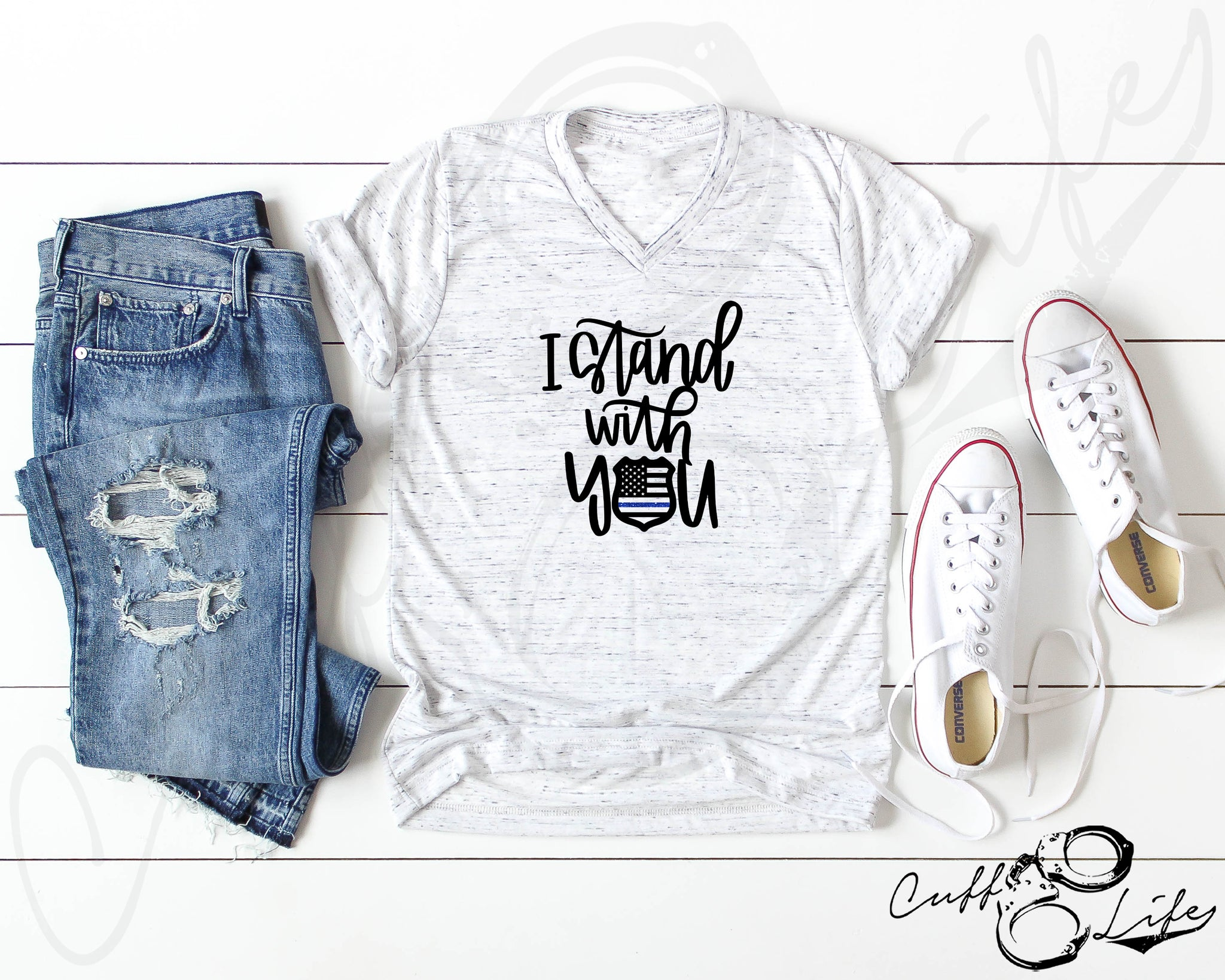 I Stand With You 2 © - Boyfriend Fit V-Neck Tee
