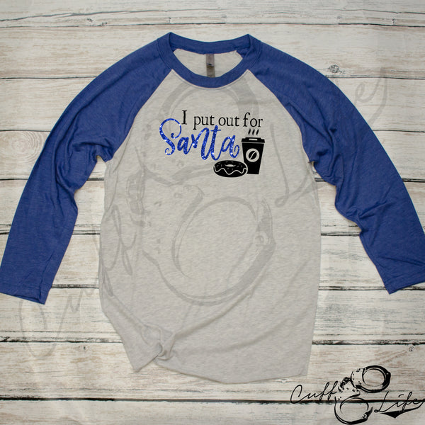 I Put Out For Santa - Donuts & Coffee - 3/4 Sleeve Raglan